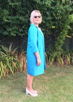 Blue vintage duster coat from Tattybojangles, original price £25.