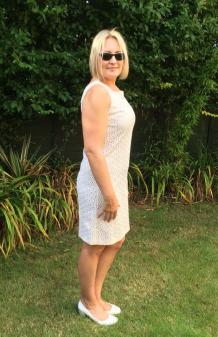 Ivory cut-work lined shift dress purchased for £18 from Kiki & Honey
