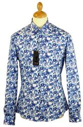 Atom Retro blue floral shirt £55
