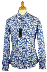 Atom Retro blue floral shirt £55
