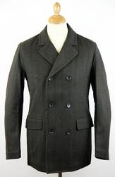 Ben Sherman Herringbone double breasted peacoat £94.50