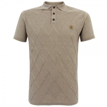 Gabicci Vintage 1973 diamond knit stone polo from Stuarts London £39.99 (also available in navy)