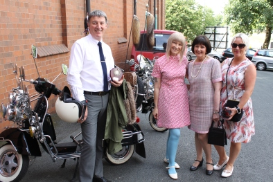 Winner of best in show, Andy Martin being presented with his prize by Psychedelic Lounge's Margot McClane and Original Mod & ModTogs owner Gill Evans