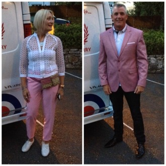George and I ready to hit the Isle of Wight party scene (wishing that was our van!)