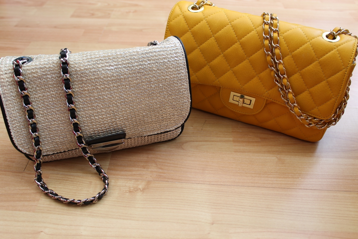 Silver straw chain bag, £35 Zara. Yellow quilted leather chain bag, Borse in Pelle £50 (TK Maxx)